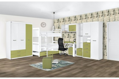 Otroška soba Kinder bela - zelena - sestav 3