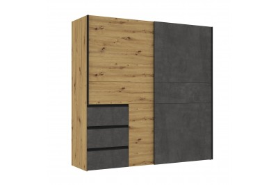 Garderobna omara WINN 2 hrast - temno siva