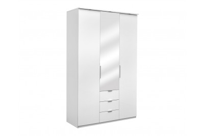 Omara z ogledalom Elegance 135-O bela sijaj