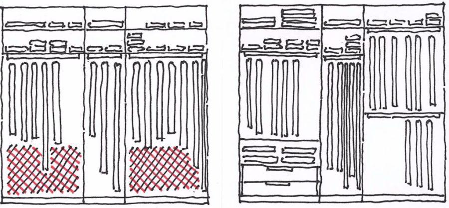 Izkoristek prostora v vgradni omari